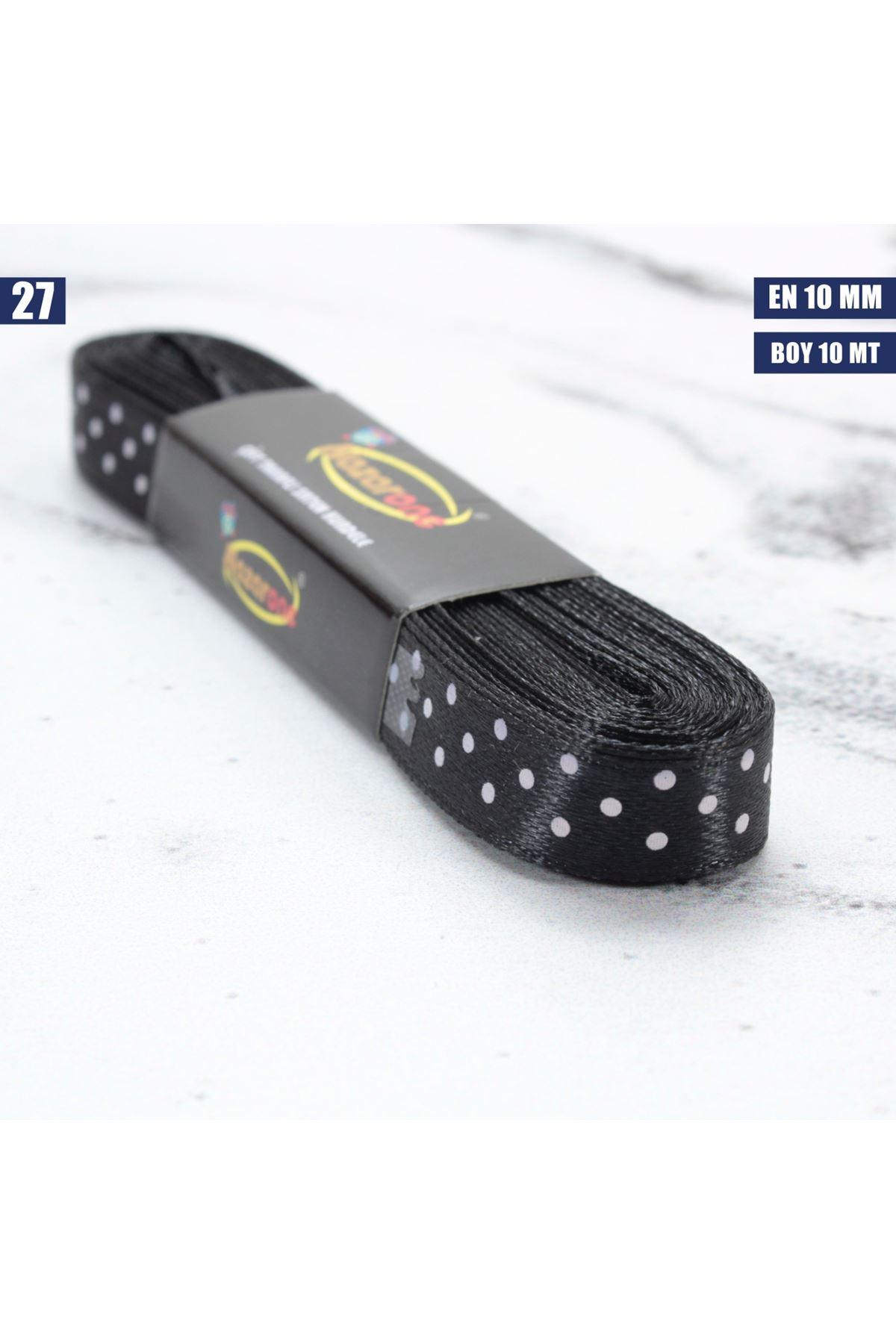 Puanlı Saten Kurdele - 10 mm - 27
