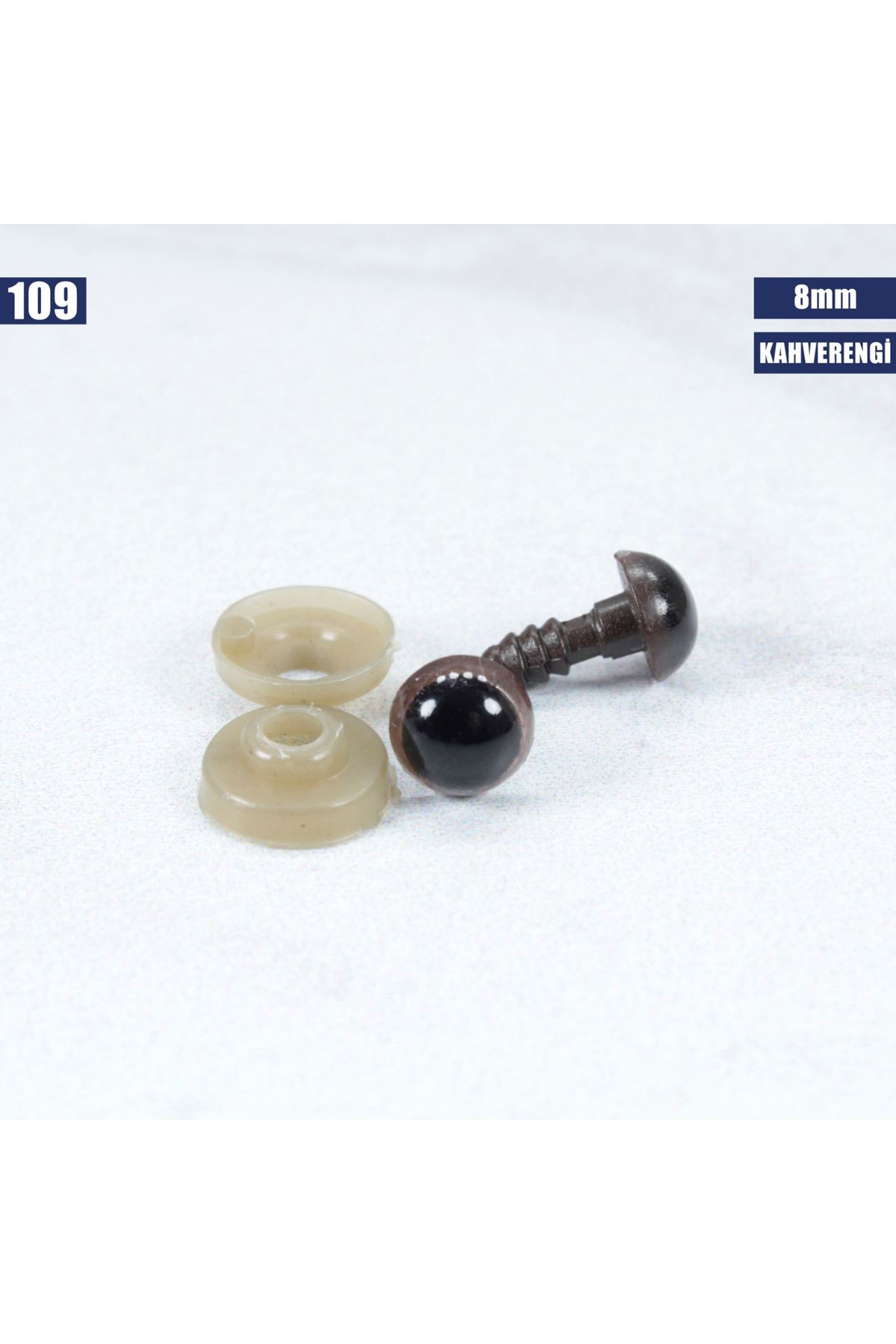 Kahverengi Vidalı Göz 8 mm 109